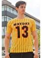 Madmext   Çizgi Detaylı Baskılı Tişört 3008 Sarı